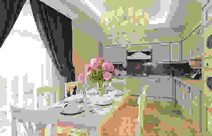 Projekty,  Kuchnia zaprojektowane przez Ivantsov design studio, Klasyczny Drewno O efekcie drewna