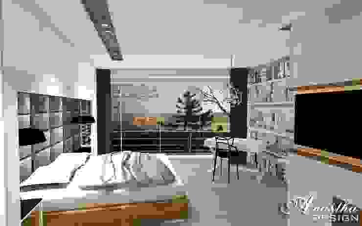 Przytulna sypialnia z miejscem do pracy od Anastha DESIGN