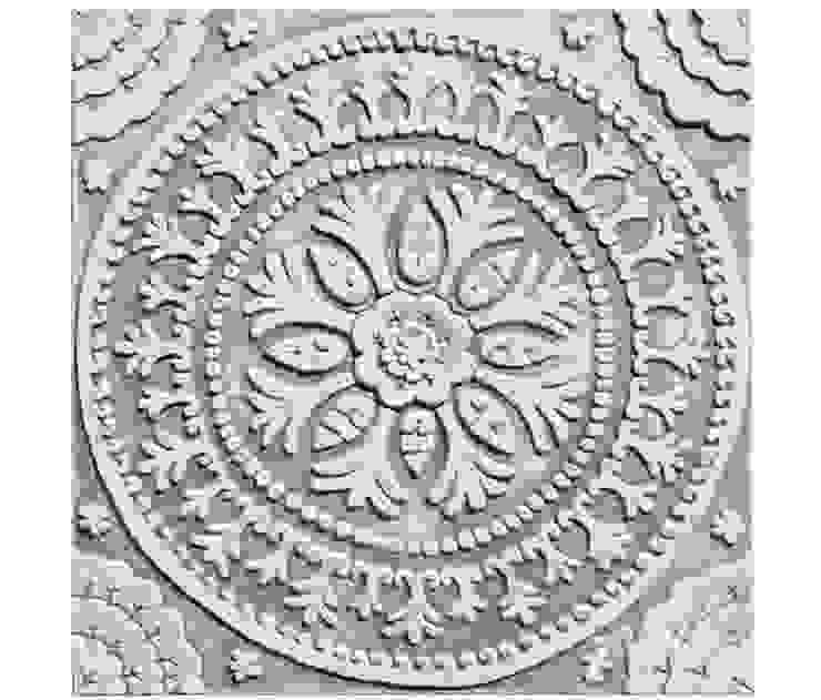 White Ceramic Wall art inspired by Suzani fabric from Uzbekistan: mediterranean  by Gvega Ceramica, Mediterranean Ceramic