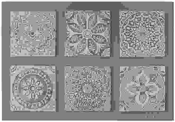 Group of 6 White Suzani Wall Art: mediterranean  by Gvega Ceramica, Mediterranean Ceramic