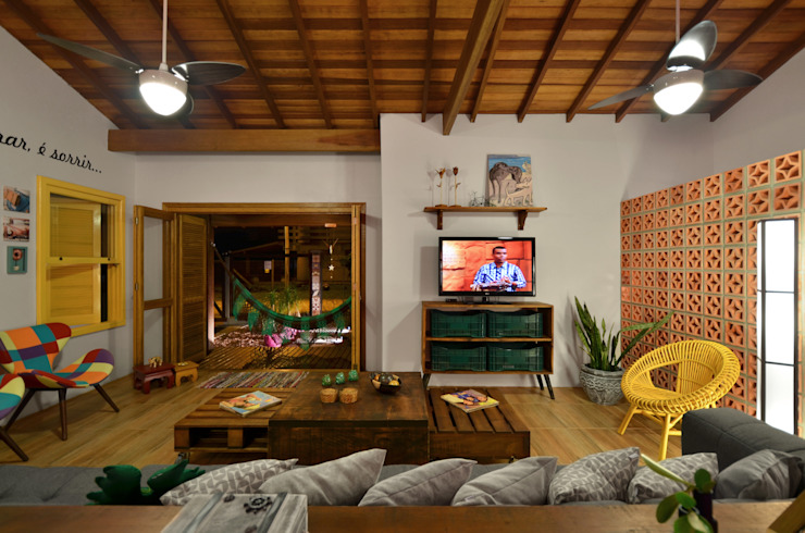 Living room by Arquitetando ideias, Tropical