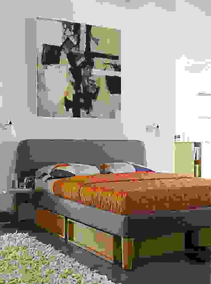 Parallel Queen Bed & Under-Bed Storage de Design Within Reach Mexico Moderno Textil Ámbar/Dorado