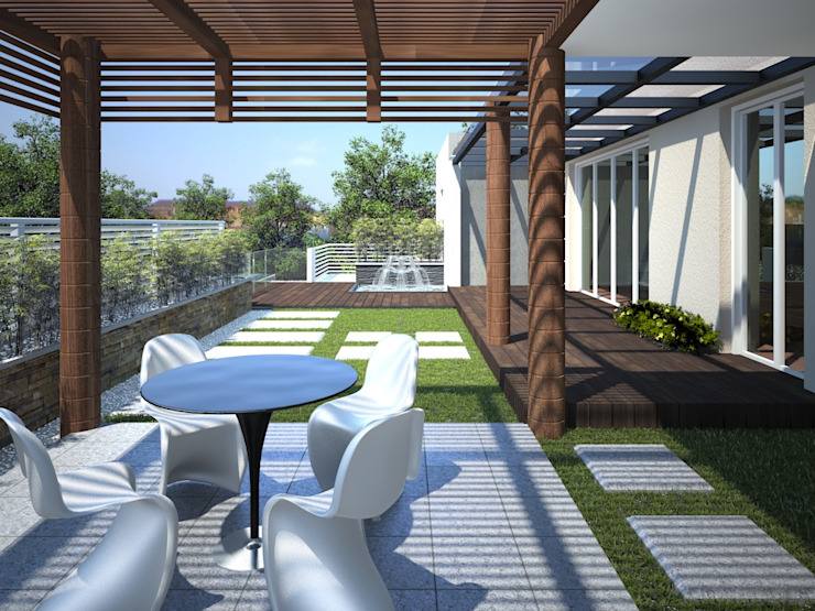 Landscaped Terrace Render Modern Houses by 3DArchPreVision Modern