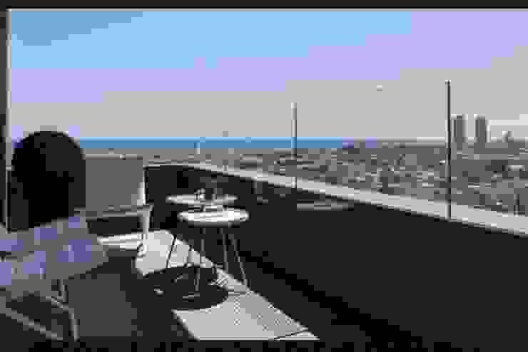 Una terraza para contemplar el mar Balcones y terrazas de estilo ecléctico de INEDIT INTERIORISTAS Ecléctico