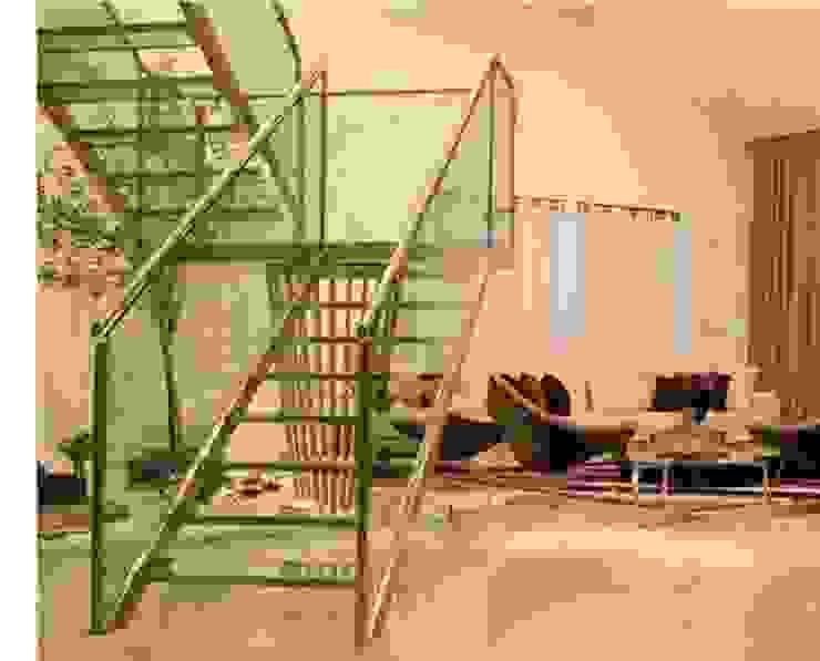 Escada de vidro Corredores, halls e escadas modernos por Deise leal interiores Moderno Vidro