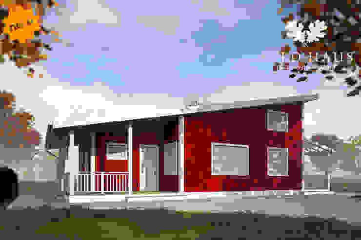 Главный фасад проект Норвегия Дома в скандинавском стиле от Mild Haus Скандинавский Изделия из древесины Прозрачный