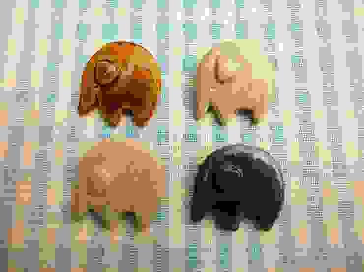 ゾウさん陶ブローチ: 中岡陶房工芸が手掛けたアジア人です。,和風 陶器