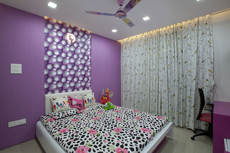 bed homify BedroomBeds & headboards Plywood Pink