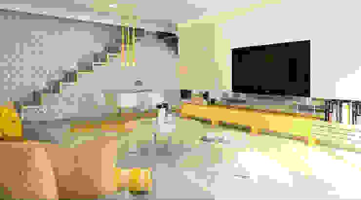 MIESZKANIE NA ŻÓŁTO: styl , w kategorii Salon zaprojektowany przez Klaudia Tworo Projektowanie Wnętrz Sp. z o.o.,Nowoczesny