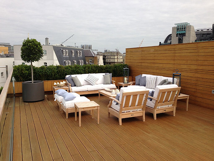 London garden roof-top terace Modern style gardens by Decorum . London Modern Solid Wood Multicolored