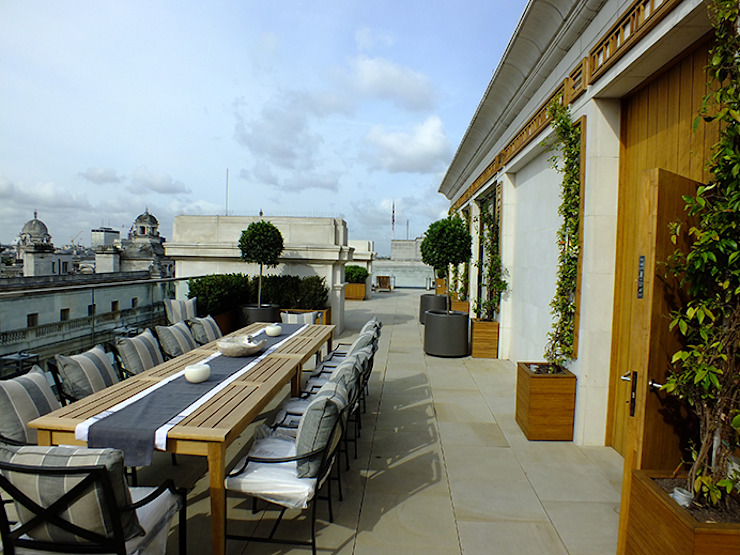 Rooftop Exterior Dining Room London Decorum . London Modern style gardens Stone