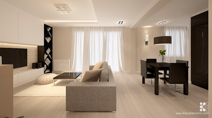 Salas modernas de Klaudia Tworo Projektowanie Wnętrz Sp. z o.o. Moderno