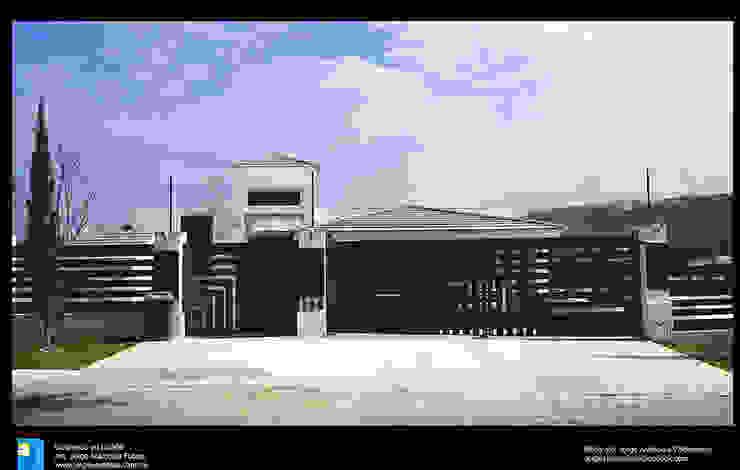 fachada principal Casas modernas de Excelencia en Diseño Moderno Hierro/Acero