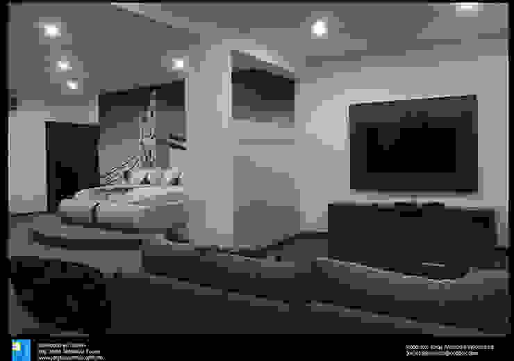 recamara con sala Dormitorios modernos de Excelencia en Diseño Moderno Derivados de madera Transparente