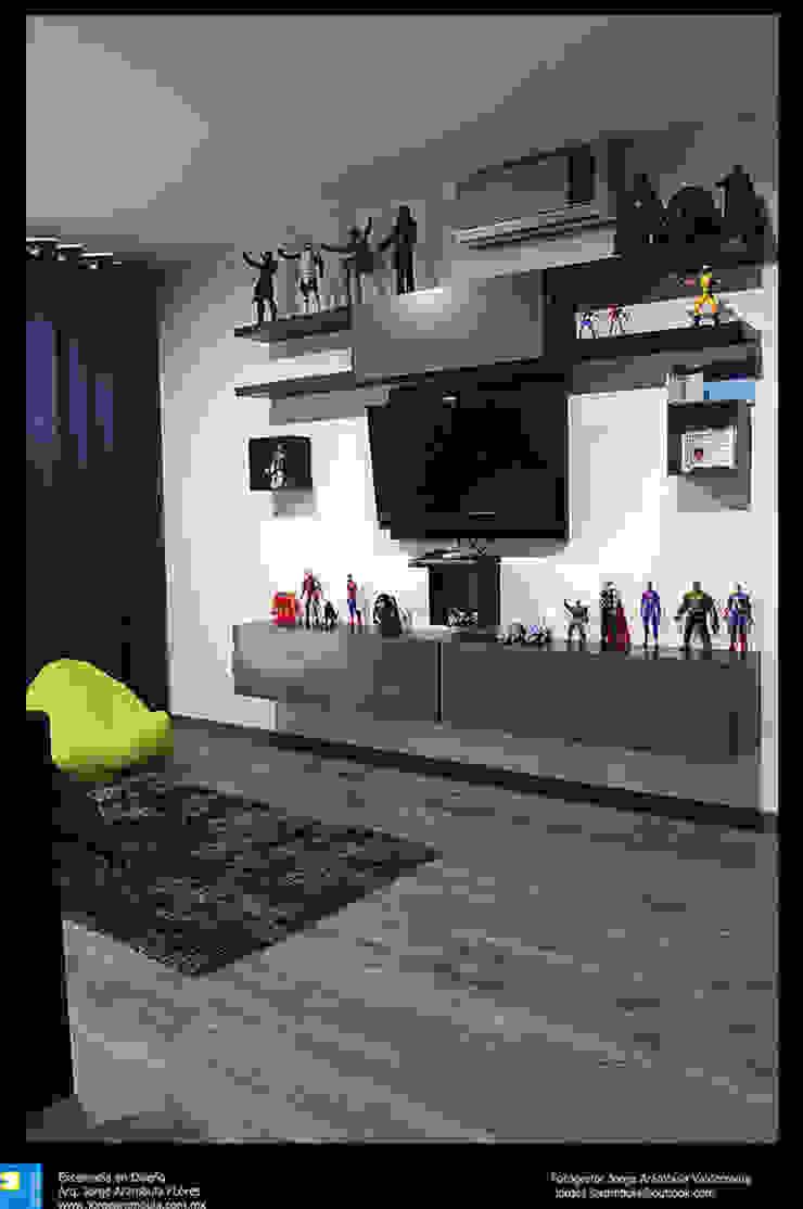 Excelencia en Diseño Media room Engineered Wood Grey