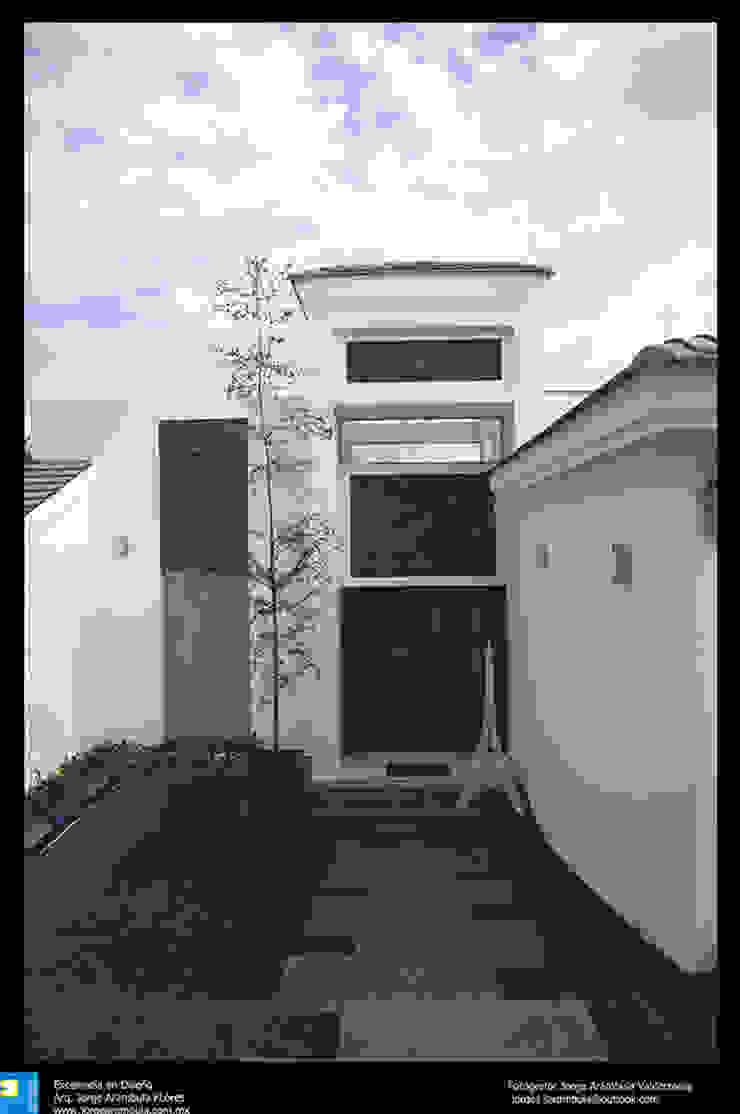 el ingreso principal Casas modernas de Excelencia en Diseño Moderno Madera maciza Multicolor