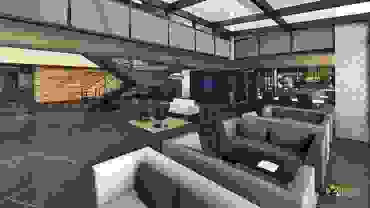 Corporate Office Lobby Interior Design Rendering: modern  by Yantram Architectural Design Studio, Modern