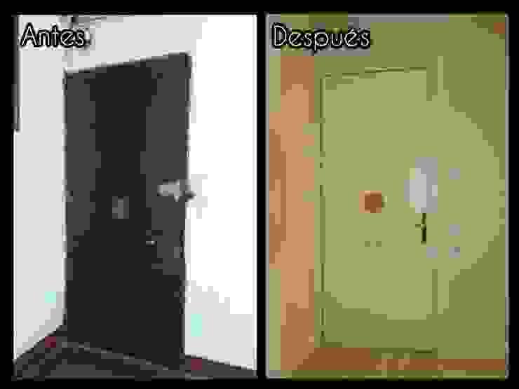 Antes y después de restauración de puerta de entrada Puertas y ventanas clásicas de FUSTERS CÓRDOBA Clásico Madera maciza Multicolor