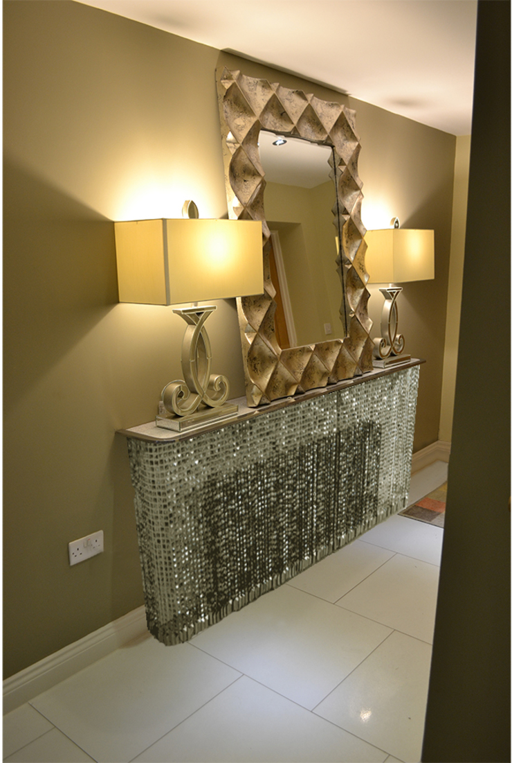 Glitzy Glamour With Crystal Console Tables In Small Hallway
