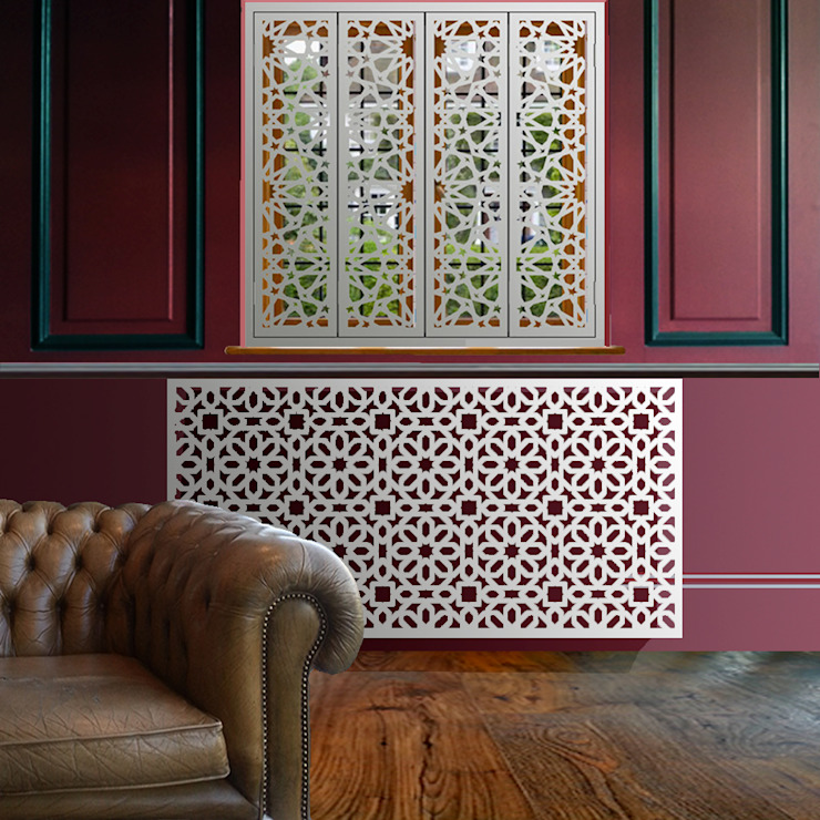 Marrakesh radiator covers in satin white od Laser cut Furniture & Screens