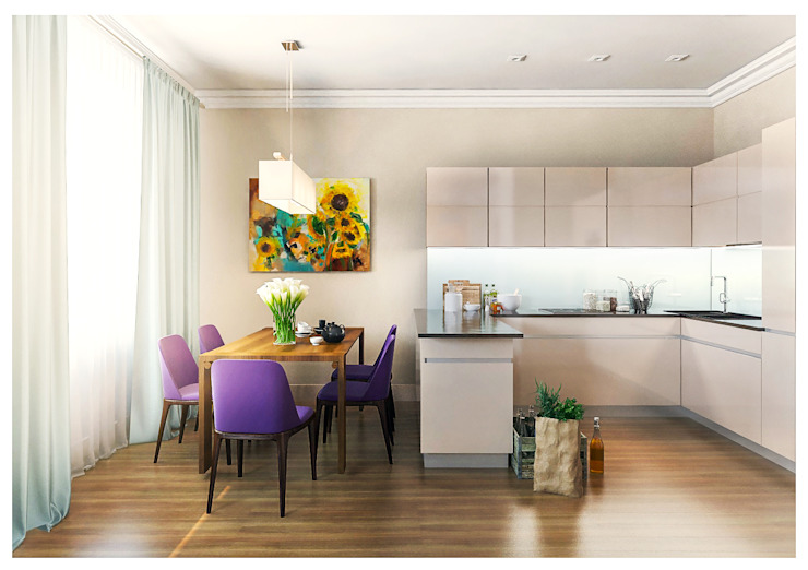3-bedroom Apartment, Moscow Alexander Krivov Minimalist kitchen Beige