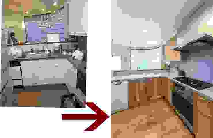 木目が美しい、オークの無垢のキッチン: 株式会社コリーナが手掛けた折衷的なです。,オリジナル