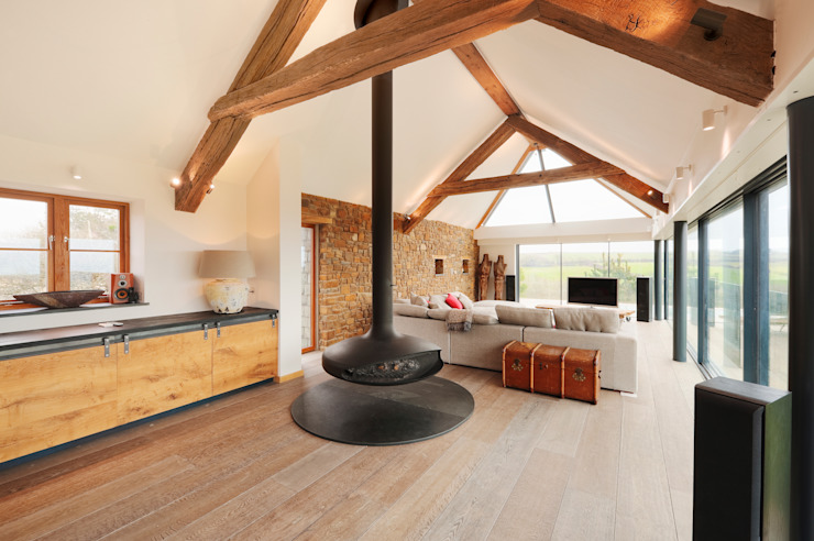 Down Barton, Devon Salones modernos de Trewin Design Architects Moderno