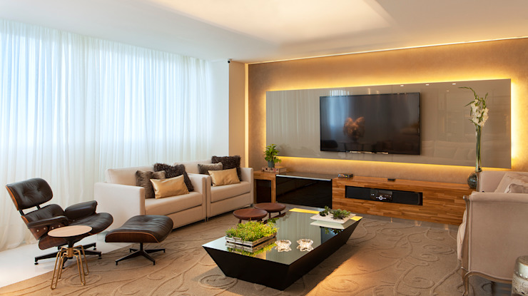 Living AQVA Salas de estar modernas por daniela andrade arquitetura Moderno