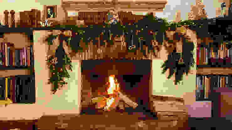 Chimenea encendida y adornada para Navidad. de MARIANGEL COGHLAN
