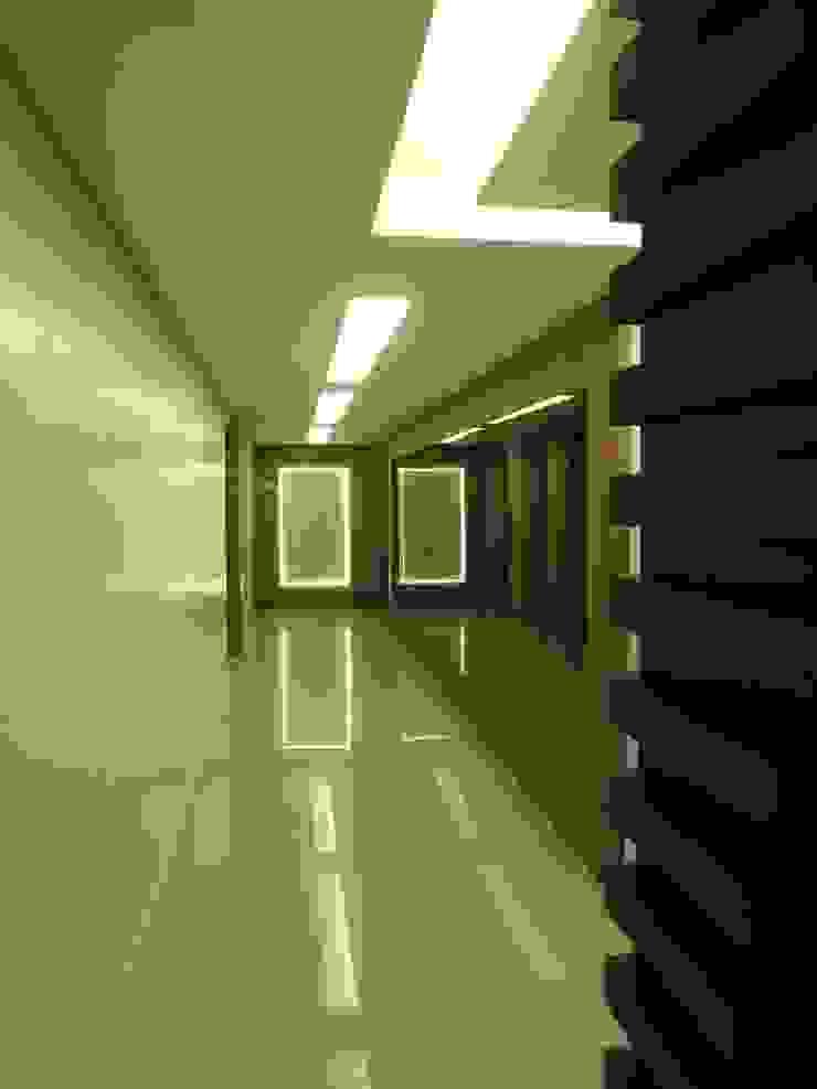 Tatiana Junkes Arquitetura e Luminotécnica Modern corridor, hallway & stairs