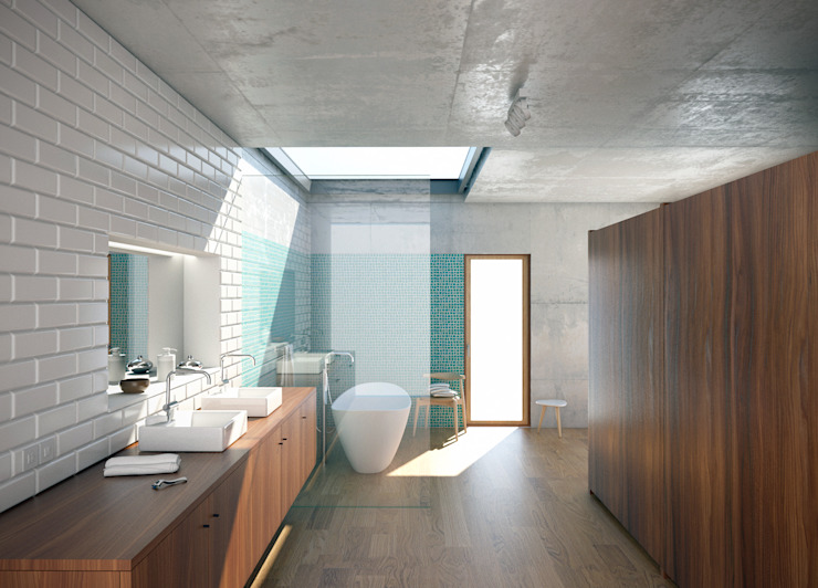 Render interior Casas de banho modernas por archi3d Moderno