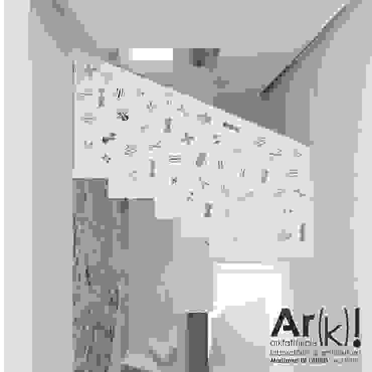 Tetris_House Ingresso, Corridoio & Scale in stile moderno di arkfattoriale Moderno