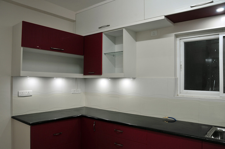 Compact Kitchen Minimalist kitchen by 3A Architects Inc Minimalist Plywood
