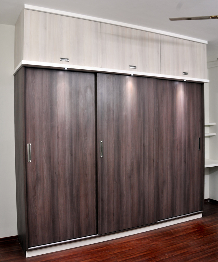 Master Bed Wardrobe Minimalist bedroom by 3A Architects Inc Minimalist Plywood