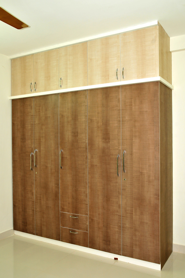 Guest Bed Wardrobe Minimalist bedroom by 3A Architects Inc Minimalist Plywood
