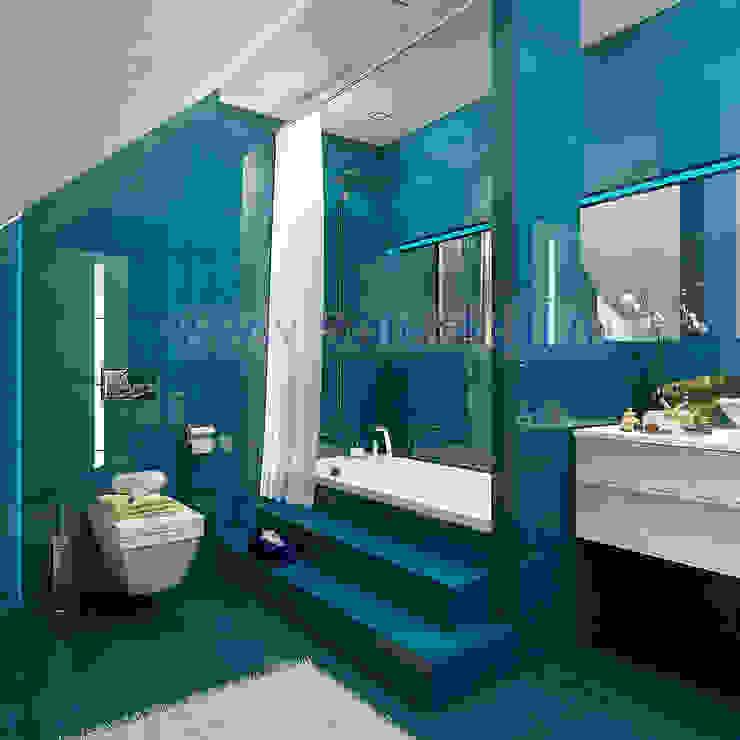 Дизайн проект ванной в современном стиле от Батенькофф в таунхаусе. Поселок Палникс.: Ванные комнаты в . Автор – Дизайн студия 'Дизайнер интерьера № 1',