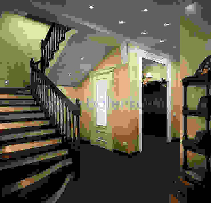Дизайн проект холла и лестницы в классическом стиле от Батенькофф в таунхаусе. Поселок Палникс. Коридор, прихожая и лестница в классическом стиле от homify Классический Дерево Эффект древесины