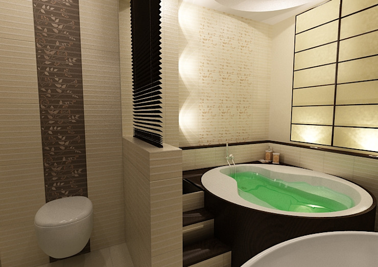 Łazieka orientalna Azjatycka łazienka od ZAWICKA-ID Projektowanie wnętrz Azjatycki