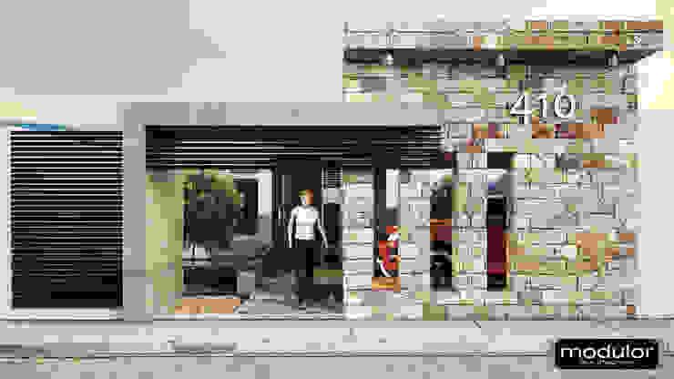 Acceso Principal Casas modernas de Modulor Arquitectura Moderno Piedra