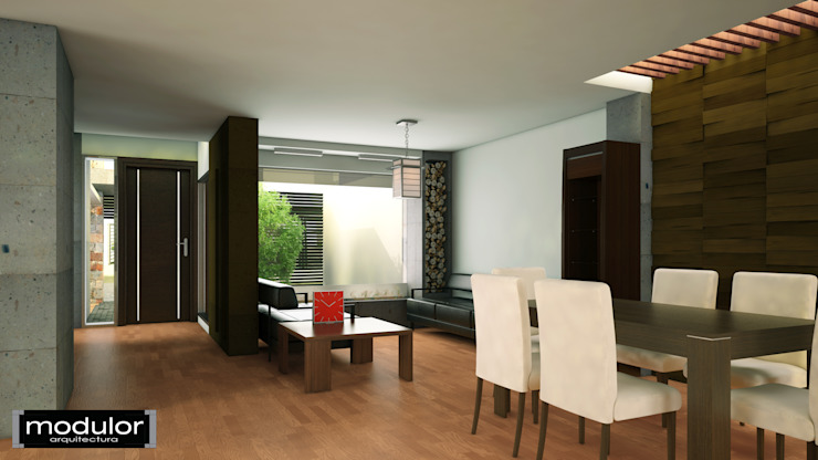 Espacio Interior, Sala-Comedor Salones modernos de Modulor Arquitectura Moderno Madera Acabado en madera