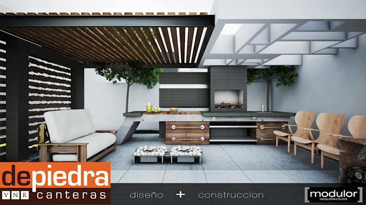 Modern style gardens by Modulor Arquitectura Modern Concrete