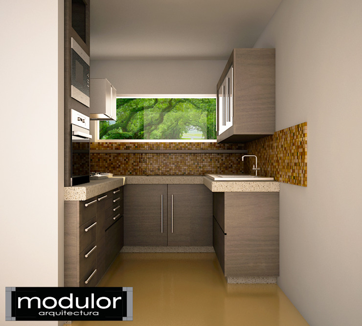 Modulor Arquitectura 現代廚房設計點子、靈感&圖片 木頭 Wood effect