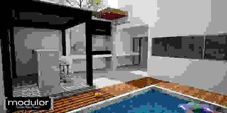 Balcon, Veranda & Terrasse modernes par Modulor Arquitectura Moderne Pierre