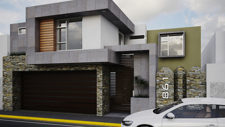 Fachada Vlad 861 Casas modernas de Modulor Arquitectura Moderno Piedra
