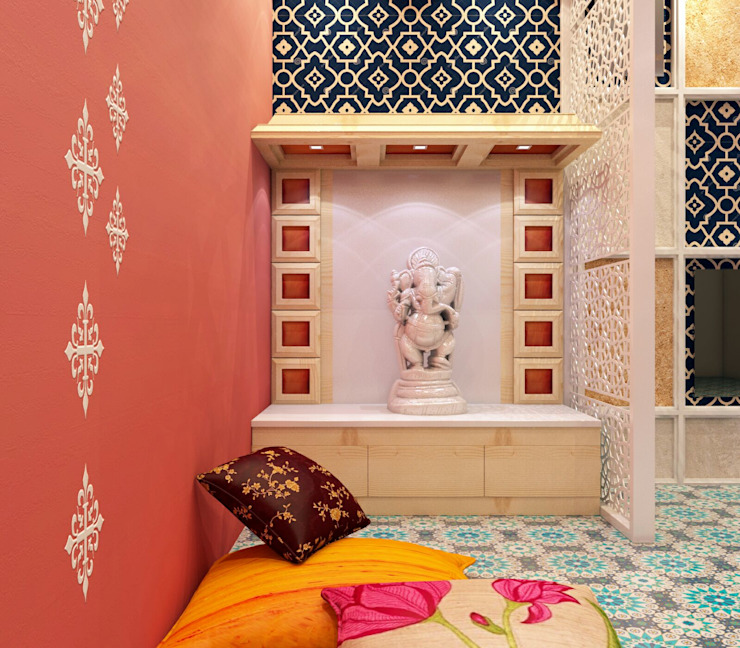 Mandir in open space by Creazione Interiors