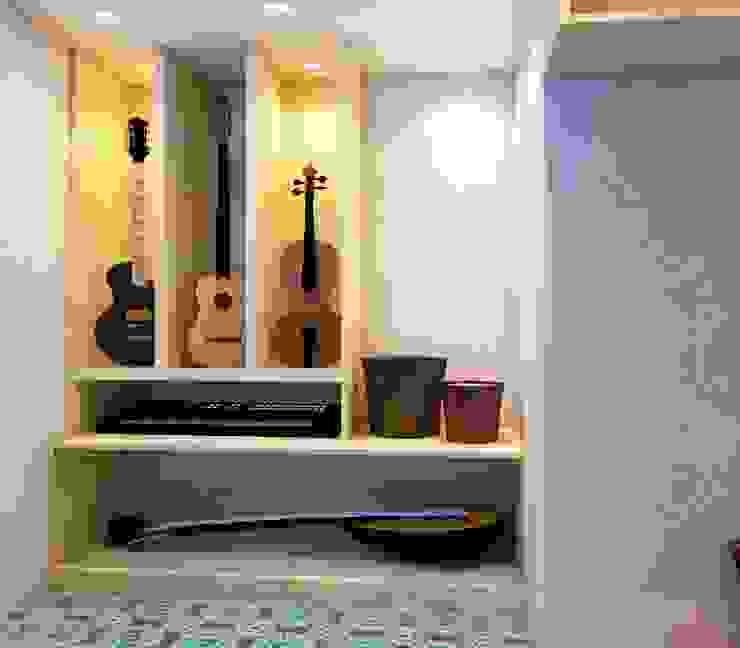 Music area in study room by Creazione Interiors