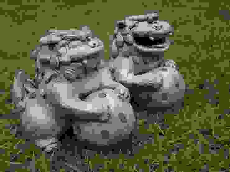 釉炭化 玉シーサー: 里窯【藤原 里子】が手掛けた折衷的なです。,オリジナル 陶器