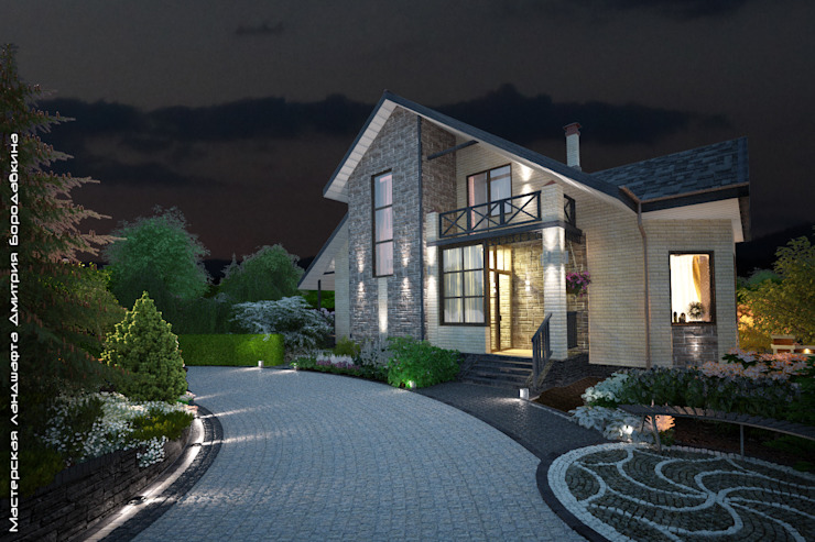 Ночное освещение въездной зоны Сад в скандинавском стиле от Мастерская ландшафта Дмитрия Бородавкина Скандинавский