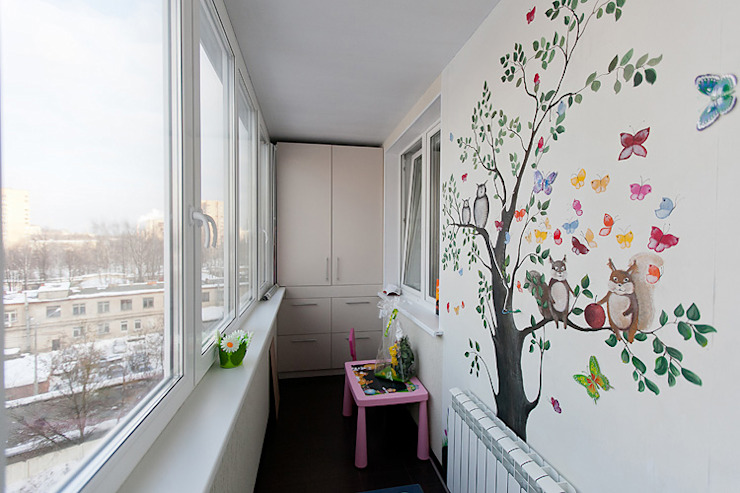 Eclectic style balcony, veranda & terrace by Designer Olga Aysina Eclectic