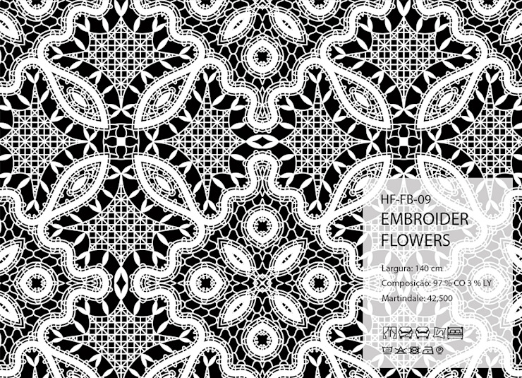 HF-FB-09-EMBROIDER-FLOWERS por House Frame Wallpaper & Fabrics Clássico